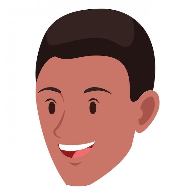 Personagem De Desenho Animado De Avatar De Rosto De Homem Vetor