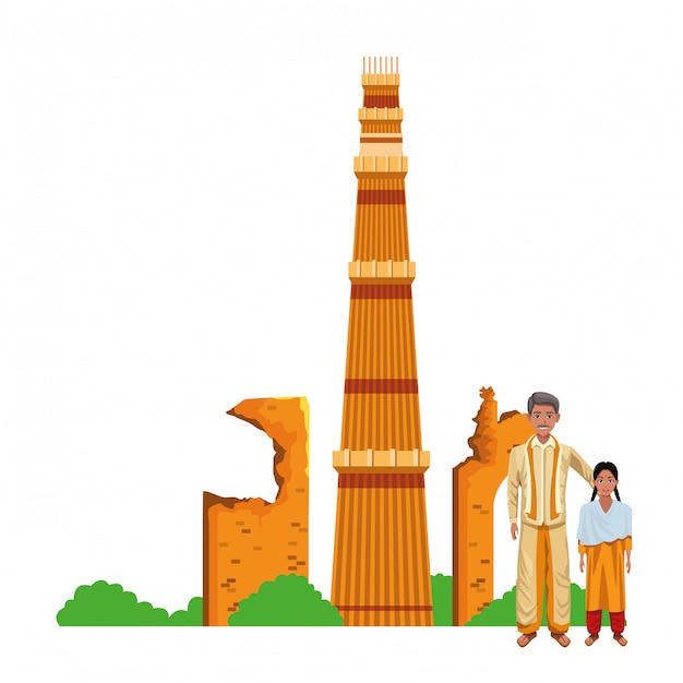 Personagem de desenho animado de avatar família indiana Vetor Premium