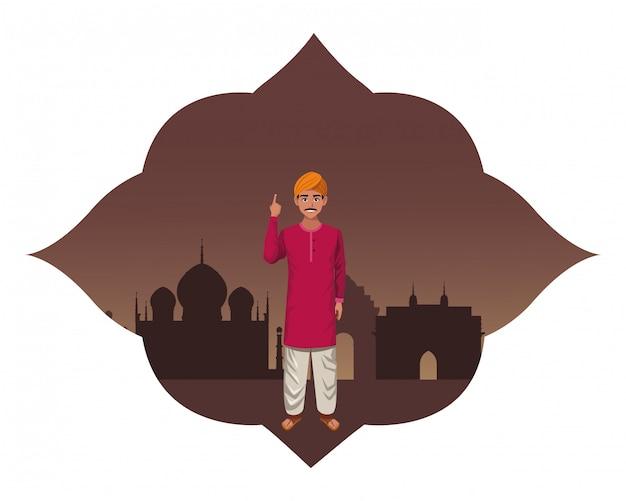 Personagem de desenho animado de avatar homem indiano Vetor Premium