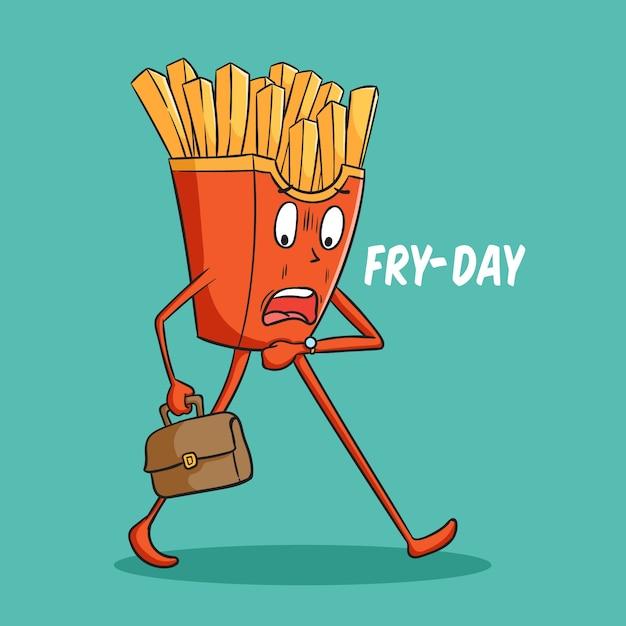 Personagem de desenho animado de batata frita atrasado para o trabalho com estilo doodle Vetor Premium