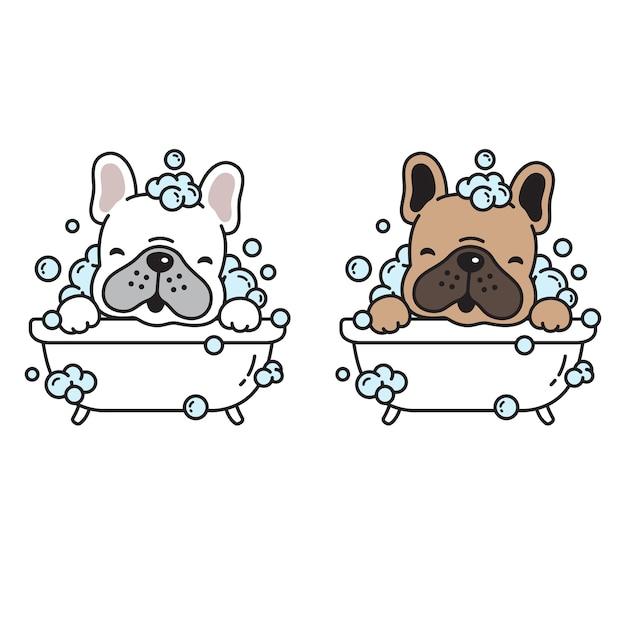 Personagem de desenho animado de cachorro para banho de cachorro Vetor Premium