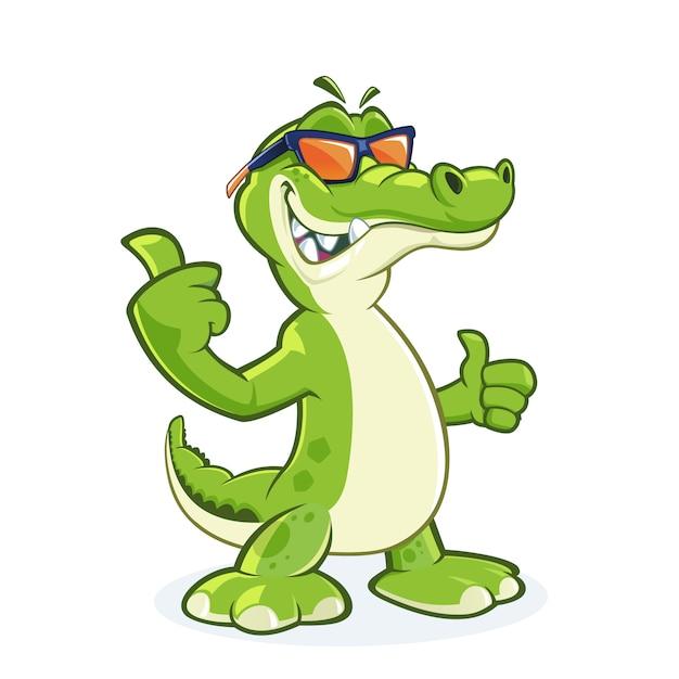 Personagem de desenho animado de crocodilo sorridente com óculos de sol com o polegar para cima Vetor Premium