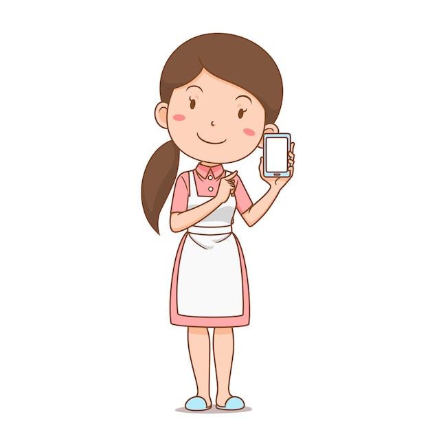 Personagem de desenho animado de dona de casa, compras on-line via smartphone. Vetor Premium