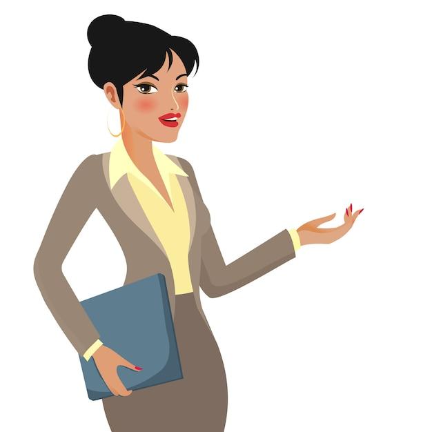 Personagem de desenho animado de empresária fazendo apresentações Vetor grátis