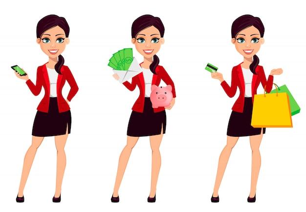 Personagem de desenho animado de empresária Vetor Premium