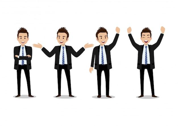 Personagem de desenho animado de empresário, conjunto de quatro poses. homem bonito no terno de escritório estilo inteligente Vetor Premium