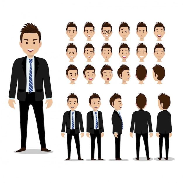 Personagem de desenho animado de empresário, conjunto de quatro poses. homem de negócios bonito terno esperto. ilustração vetorial Vetor Premium