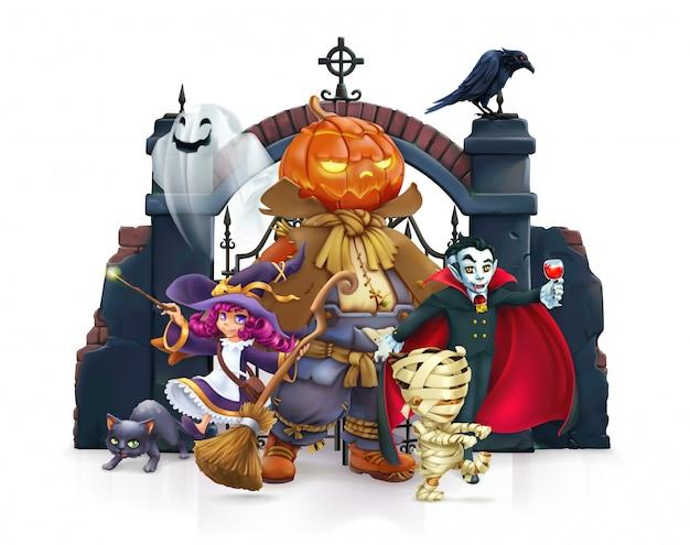 Personagem de desenho animado de feliz dia das bruxas Vetor Premium