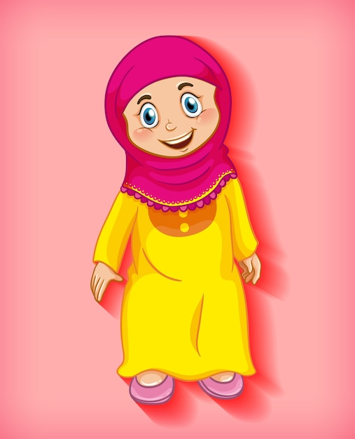 Personagem de desenho animado de garota muçulmana feliz Vetor grátis