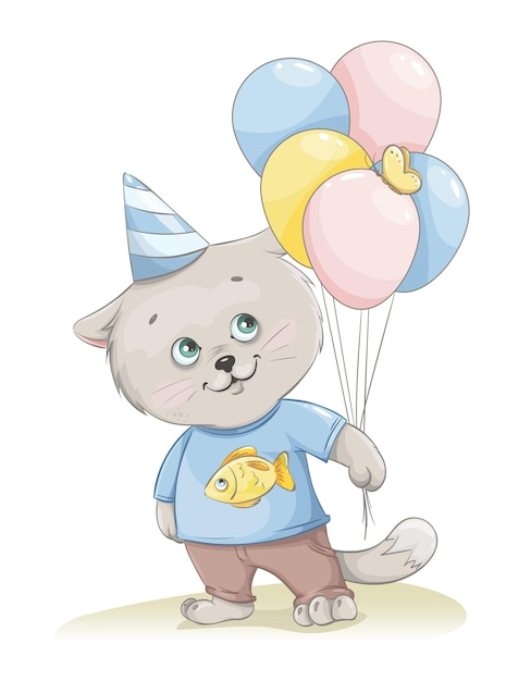 Personagem de desenho animado de gatinho fofo segurando balões Vetor Premium