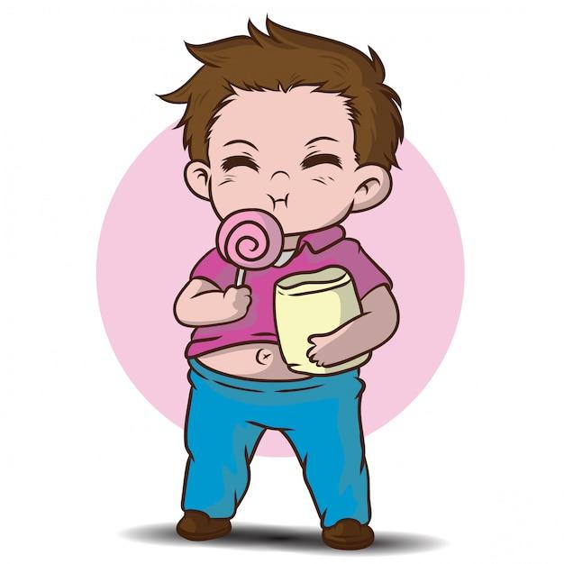Personagem de desenho animado de gordo bonito. Vetor Premium