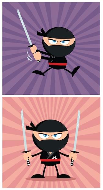 Personagem de desenho animado de guerreiro ninja em design moderno flat Vetor Premium