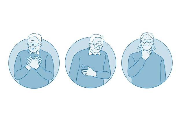 Personagem de desenho animado de homem tossindo Vetor Premium