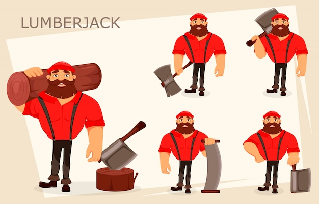 Personagem de desenho animado de lenhador Vetor Premium