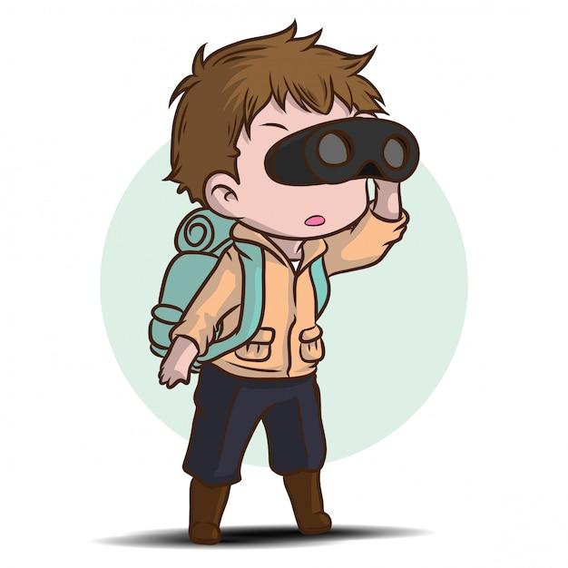Personagem de desenho animado de menino bonito exploradores. Vetor Premium