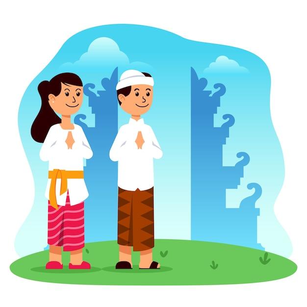 Personagem de desenho animado de menino e menina hindu em frente ao portão do templo Vetor Premium