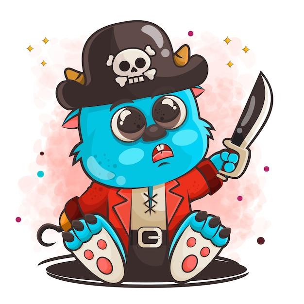 Personagem de desenho animado de monstro fofo posando em ilustração de roupas de pirata Vetor Premium
