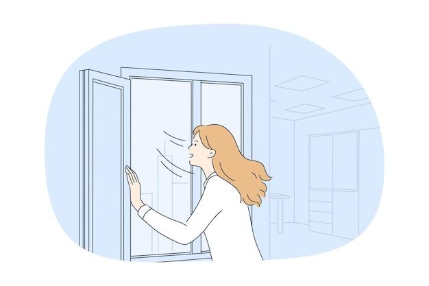 Personagem de desenho animado de mulher abrindo a janela em casa e respirando ar Vetor Premium