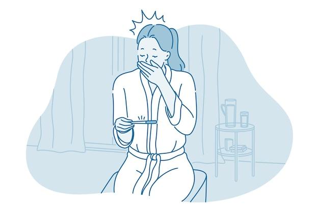 Personagem de desenho animado de mulher sentada com teste de gravidez Vetor Premium