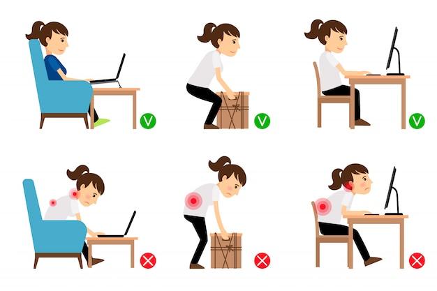 Personagem de desenho animado de mulher sentado e trabalhando Vetor Premium