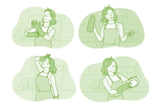 Personagem de desenho animado de mulher usando luvas lavando pratos na cozinha Vetor Premium