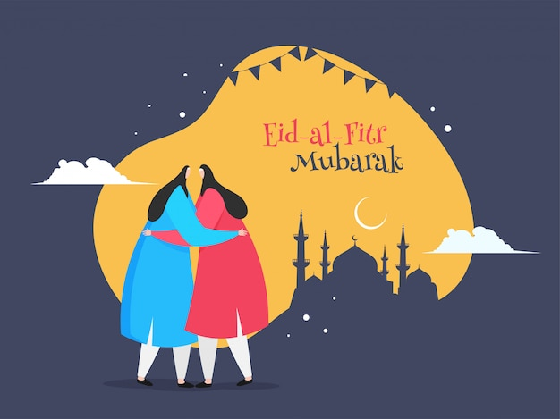 Personagem de desenho animado de mulheres islâmicas, abraçando uns aos outros em eid mubarak Vetor Premium