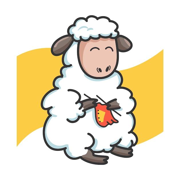 Personagem de desenho animado de pano de tricô de ovelhas Vetor Premium