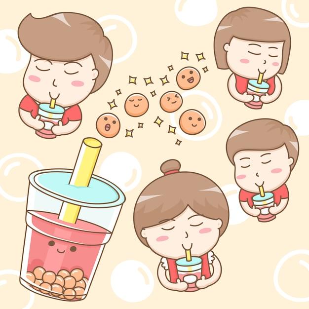 Personagem de desenho animado de pessoas bebendo chá de bolha doce Vetor Premium