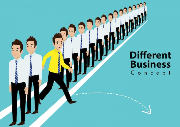 Personagem de desenho animado de pessoas diferentes. corra para novas oportunidades e conceito de liderança Vetor Premium