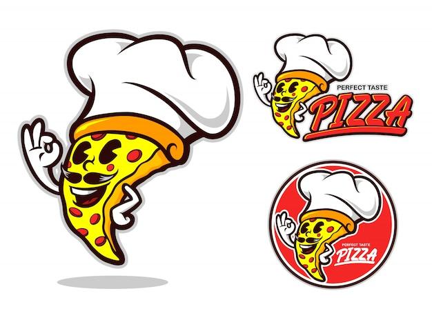 Personagem de desenho animado de pizza chef Vetor Premium