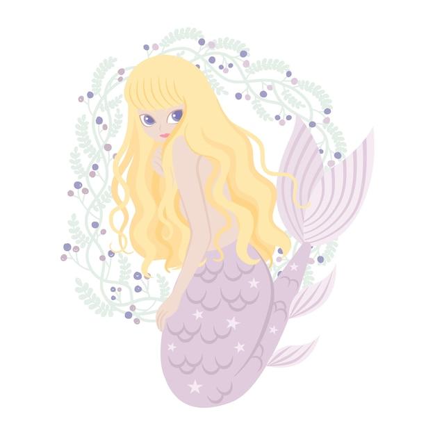 Personagem de desenho animado de sereia com quadro de flores Vetor Premium