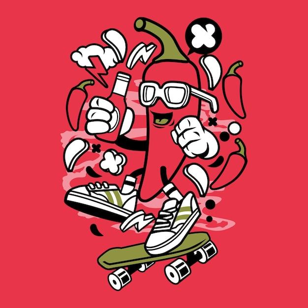 personagem de desenho animado de skate chili baixar vetores premium