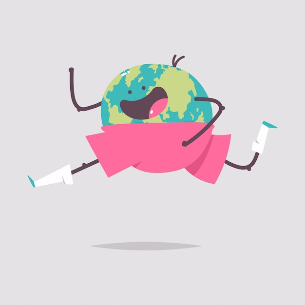 Personagem de desenho animado de terra engraçada, isolado em um fundo branco. ilustração do conceito de dia de saúde. Vetor Premium