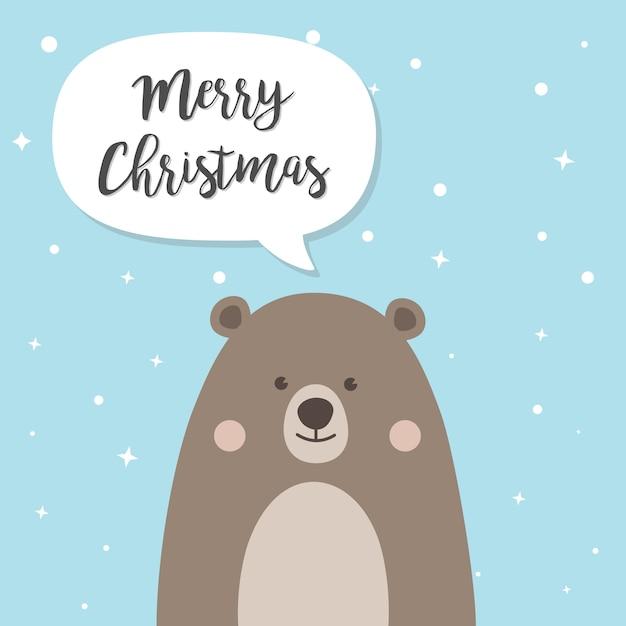Personagem de desenho animado de urso de natal Vetor Premium