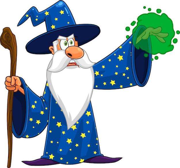Personagem de desenho animado do assistente com uma bengala que faz mágica. Vetor Premium