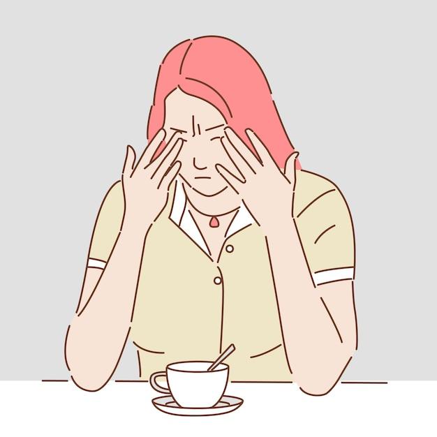 Personagem De Desenho Animado Do Conceito De Mulher Triste De