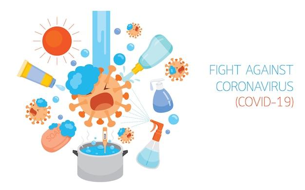 Personagem De Desenho Animado Do Coronavirus Luta Contra Diferentes Metodos E Equipamentos De Desinfeccao Protecao Contra A Doenca Do Coronavirus Covid 19 Vetor Premium