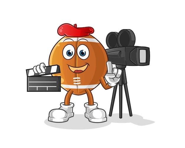 Personagem de desenho animado do diretor de bola de rúgbi Vetor Premium