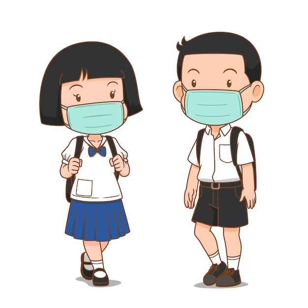 Personagem de desenho animado do estudante do ensino médio, menino e menina, usando máscara higiênica. Vetor Premium
