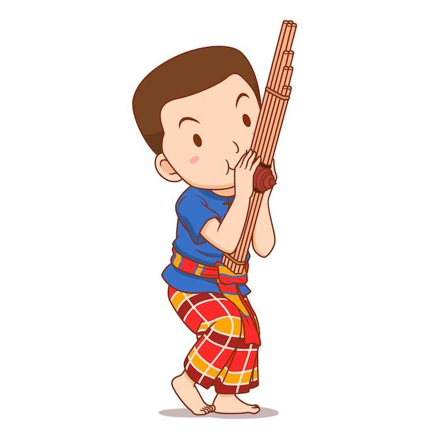 Personagem de desenho animado do garoto tocando instrumento khaen. Vetor Premium