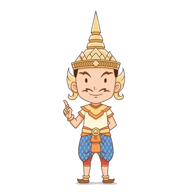 Personagem de desenho animado do macho anjo tailandês tradicional. Vetor Premium