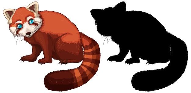 Personagem de desenho animado do panda vermelho e sua silhueta Vetor grátis