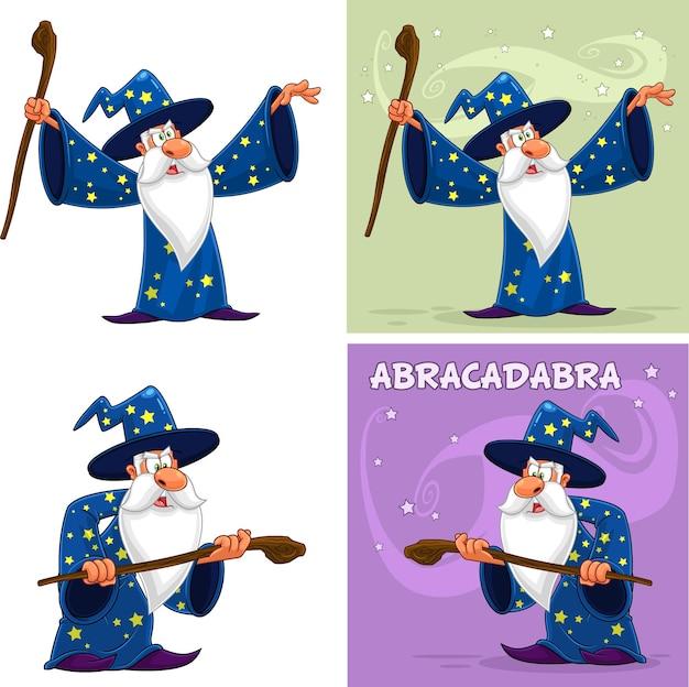 Personagem de desenho animado do velho feiticeiro. conjunto de coleta isolado no fundo branco Vetor Premium