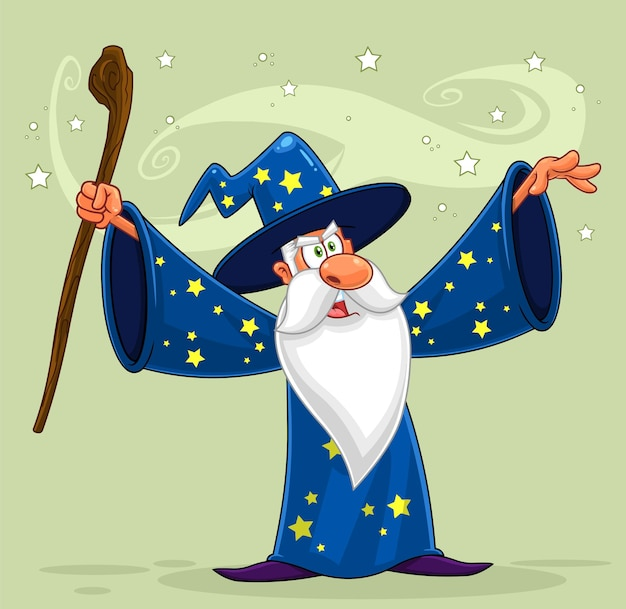 Personagem de desenho animado do velho mago com uma bengala Vetor Premium