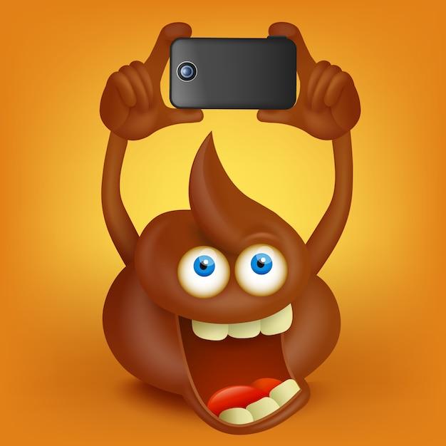 Personagem de desenho animado engraçado cocô fazendo foto com telefone inteligente Vetor Premium