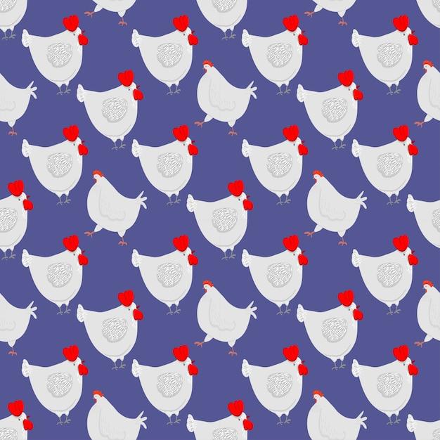 Personagem de desenho animado feliz galinha em poses diferentes Vetor Premium
