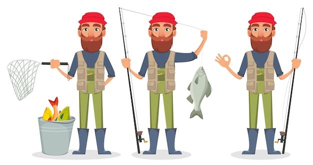 Personagem de desenho animado fisher Vetor Premium