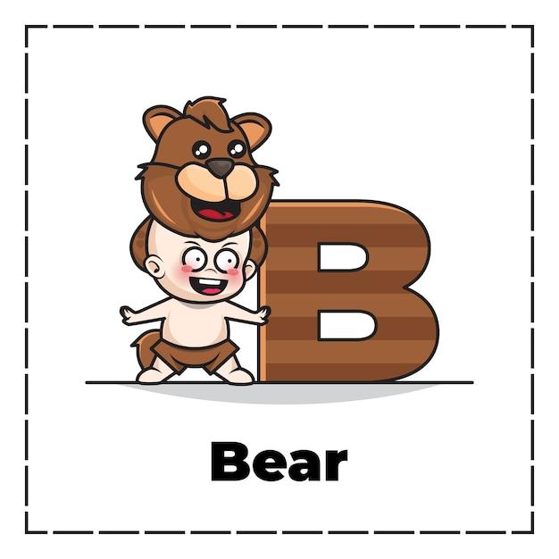Personagem de desenho animado fofa da letra inicial b com bebê vestindo fantasia de urso Vetor Premium