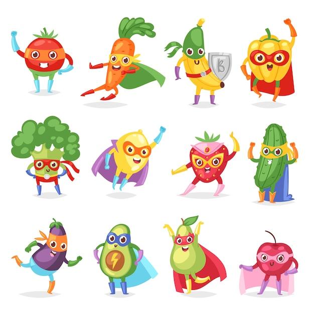 Personagem de desenho animado frutado de frutas super-herói de legumes de expressão super-herói com cenoura banana engraçada ou pimenta na ilustração de máscara Vetor Premium