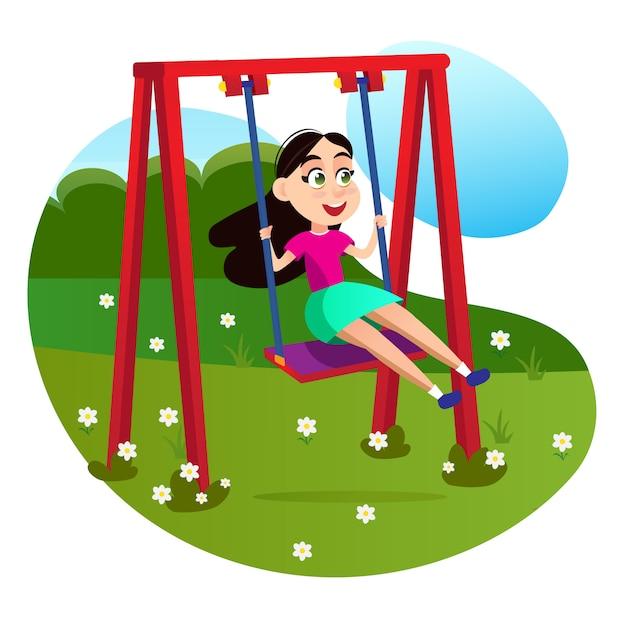 Personagem de desenho animado garota no balanço no playground Vetor Premium